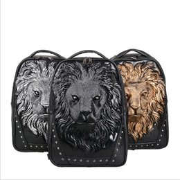 Wholesale Black Studded Bag - 3D Lion Studded PU Bags Rivet Leather Casual Laptop Backpack Animal Print School Bags for Men and women Unisex Vivid