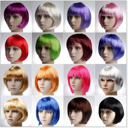 Wholesale human hair cosplay wigs - Wig straight hair lace wigs wig hair human hair wigs Various colors Dance bar toy BOB cos cosplay