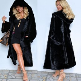 Wholesale Warm Pocket - New stylish black faux fur mink fur coat longer section hooded winter coat thick warm P004
