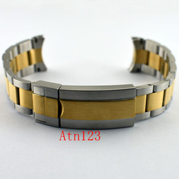 Wholesale Mens Solid Gold Bracelets - 20mm 316L Solid Stainless Steel Watchband Watch Bands With Buckle Watch Straps For Men Watchbands Mens Bands Replacement P651