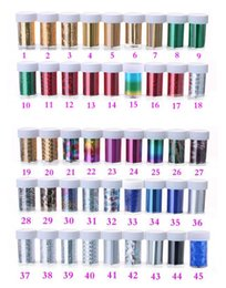 Accesorios de papel de envolver online-F056 Nail Art Foil Starry Sky Glitter Foil 55 Color para elegir Transfer Sticker Papel Nail Wraps DIY Accesorios para uñas
