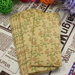 Wholesale Wholesale Blank Bookmarks - Wholesale- 10pcs lot New Floral Blank Kraft Paper Envelopes Bookmarks Bag Partner Paper Envelopes Bag 16.2*7cm