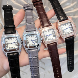 Wholesale Full Dresses - 2017 New Fashion dress Diamond Wristwatch Colorful Brand C Genuine leather clock Quartz Watches Women Clock full diamond square dial face