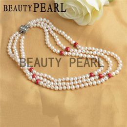 Wholesale Pearl Necklace Three Strand - Women Pearl Jewelry 6-7mm Potato White Freshwater Pearls and 8mm Red Coral Three Strand Pearl Necklace