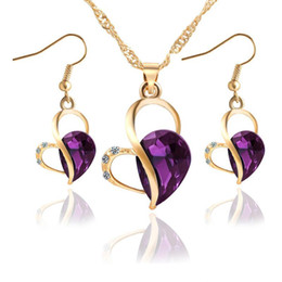 Wholesale Indian Girl Halloween Costumes - Gold Color Crystal Heart Fashion Costume Jewelry Sets for Women Necklace Earrings Sets wedding double heart necklace