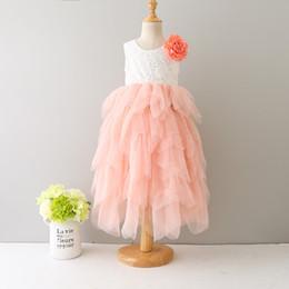 Wholesale patchwork print chiffon dress - 2017 baby girls lace TuTu princess dress cotton short sleeves Flowers dresses Kids Asymmetrical Clothing 6 colors top quality