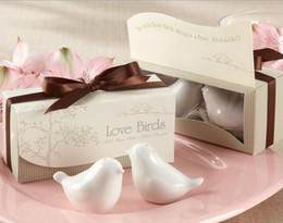 Wholesale Ceramic Gifts Wholesale - DHL Free shipping Love bird salt and pepper Shaker wedding favors gifts 2PCS SET