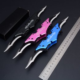 Wholesale Assisted Blade - Batman Batarang Twin Blade Tactical Folding Knife Spring Assisted Bat Wing Camping Hunting Survival Pocket Knife Utility EDC Tools