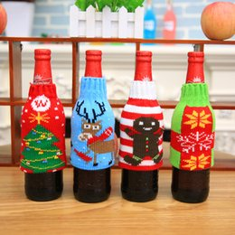 Wholesale Bowling Party Supplies - Colorful Fashion Cloth Wine Bottle Cover Bags 4 Styles Sweater Christmas Table Decoration Santa Claus Xmas Supplies for Home Party