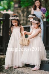 Wholesale Cheap Cute Puffy Dress - Cute Blush Ball Gown Flower Girl Dresses for Bohemia Wedding Puffy Tulle Halter 2017 New Cheap Girls Pageant Dresses for Communion