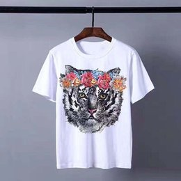 Wholesale Tshirt Material - Hot sale cat printed tshirt women men tops cotton material polos white color tees