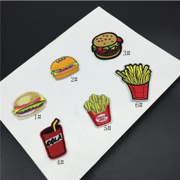 Wholesale Clothing Stickers For Kids - 20pcs Hamburger Fries Foods Stickers Patches Embroidered Patch For Clothing Jean Jacket parches Kids Dress Fabric Patchwork Badge Appliques