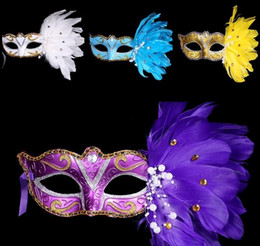 Wholesale Masquerade Mask White Paint - New Exquisite mystery Masked Girl Feather Half Face Painted Mask Masquerade Christmas Halloween Birthday Party Accessories MOQ:100PCS