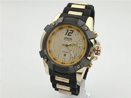 Wholesale Mens Large Dial Watch - INVICTA 2017 NEW Large Dial Luxury Mens Quartz Watch Sports Watch 5 Colors hot Brazilian Watches Large Inventory Wristwatch Drop Shipping