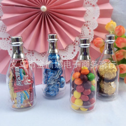 Wholesale Champagne Favors For Wedding - Plastic Champagne Bottles Transparent Candy Boxes Jars Empty Bottle For Wedding Favors Party Gifts Baby Shower Souvenirs Hot Sale 1jy A R