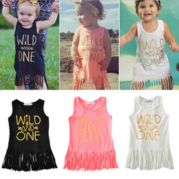 Wholesale White Chiffon Tank - wild one tassel skirts for baby cute kids summer vest tank top skirt newborn babies clothing