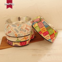 Wholesale Pretty Small Dogs - pet food water detachable dual antiskid Melamine Stainless Steel pretty printing dog bowl