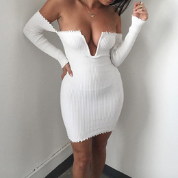 Wholesale Mini Sexy Summer Robes - Slash Neck Off-Shoulder Column Bodycon Dress Long Sleeve Hollow Out Backless Mini Lady Ball Gown Charming Vestidos De Festa Flare Femme Robe
