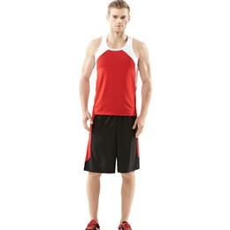 Wholesale Men Tight Vest - Fitness suit men set short-sleeved vest style gym sportswear tights suit