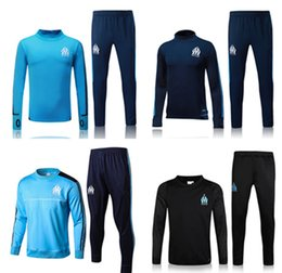 Wholesale Top Sport Clothing - 2017-18 Top quality Olympique de Marseille soccer Training suit tracksuit long sleeve football training clothes sports wear mens