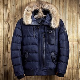 Wholesale Winter Jackets United States - Mens Clothing Winter Parkas Jackets Fur Collar Hood Snow Coat Thicken Warm Outwear Outdoor Overcoat Europe and the United States Style