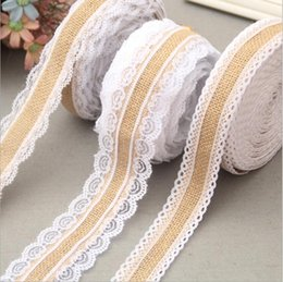 Wholesale Rustic Halloween Decorations - Wedding Lace Linen Roll Decorations New Wedding Decorations Linen DIY Manual Volume Flower Decoration Wedding Roll Rustic Decor 2.5CM Width