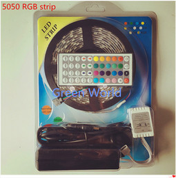 2019 luz de tira llevada rosh 5M Ip65 LED Tira flexible 300 LEDs Cambio de color RGB SMD5050 LED Light Strip Kit RGB 5M + 44Key Control remoto + 12V 5A Fuente de alimentación