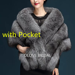 Wholesale Winter Bridal Fur Coats - Latest Faux Fur Bridal Scarf with Pocket High Quality Fashion Special Occasion Evening Party Shawl Shrug Shawl Fall Winter Wedding Warm Coat