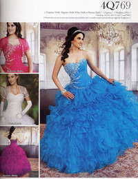 Wholesale Blue Magenta Dress - Best Selling Sweetheart Ball Gown White Magenta Passion Quinceanera Dresses With Short Sleeve Jacket Beaded Sequined Formal Prom Dresses
