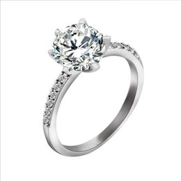 Wholesale Zircon Diamond Solitaire - New exquirsite retro Charming zircon Silver Rings with Luxury Austria Crystal,3 Layer Platinum Plated,Fashion Jewelry Free Shipping