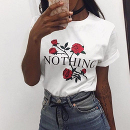 Wholesale Shirt Basic Women - Casual Ladies O-Neck Short Sleeve Rose Floral Print Tops Womens Dope Round Neck Blouse Pullover Graphic T-Shirt Basic Shirt Tee Jumper