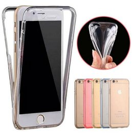 Wholesale Clear Touch Screen - For iphone 7 5S 6 6S plus Ultra thin 360 Full Body Soft TPU Case transparent Clear Touch Screen front and back cover for S7 S6 edge S8 plus