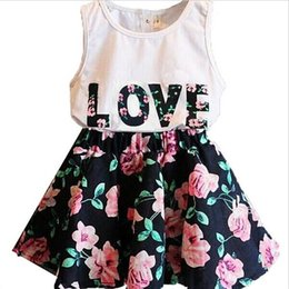 Wholesale Top Skirts - Baby Girls Clothes LOVE Tops + Flower skirt 2pcs Pretty Flowered Cotton Kids Sets 2017 Summer Children Girl Clothing Set