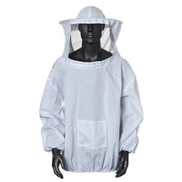 beekeeping equipment Promo Codes - Polyester Cotton White Beekeeping Jacket Veil Dress Smock Bee Keeping Coat Beekeeper Equipment Tools Suit With Hat