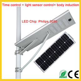 Wholesale Solar Chips Wholesale - 25W 30W 50W 60W 80W 100W intergrated solar led street light outdoor path lighting SMD3030 chip 3years warranty light control body induction