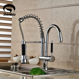 Wholesale Double Sink Kitchen Faucet - Wholesale- Wholesale and Retail New Double Swivel Spout Spring Kitchen Sink Faucet Hot and Cold Pull Out Kitchen Faucet