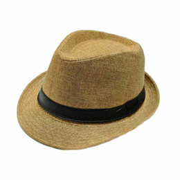 Wholesale Straw Hat Children Wide Brim - Wholesale- Best Deal Summer Autumn Fashion Unisex Beach Formal Hat Trilby Gangster Straw Jazz Cap Free Shipping 1pcs