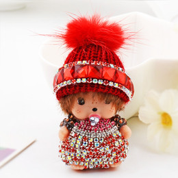 Wholesale keys caps rubber - Kawaii Monchhchi Doll with Wool Cap Rhinestone Keychain Car Keyring Women's Girl's Kid's Handbag Pendant Charms Key Chains