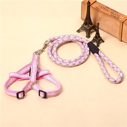 Wholesale Wholesale Handmade Dog Collars - Pet Cat Puppy Dogs Leashes and harness Long Smooth Dacron Breakaway Solid Color Dog Walker Dog Adjustable Handmade Strap Collar