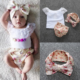 Wholesale Girls Shorts Floral Pants - INS baby outfits Horizontal neck Floral Wood ear short sleeve T-shirt+Triangle pp pants+hairbband 3pcs sets baby clothes cotton suit 0901254