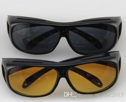 Wholesale Hd Vision Wrap Around - HD Night Vision Sunglasses Wraparounds Wrap Around Glasses The Day Night Visor For Your Car 1 piece  Retail box
