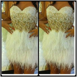 Wholesale Sexy Strapless Mini Sweetheart - White Feather Cocktail Dresses with Shinny Beads Sweetheart A Line Short Mini Party Dress 2017 Beautiful Short Prom Homecoming Gowns