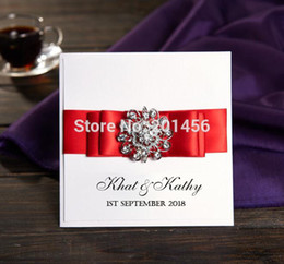 Wholesale personalized printed ribbons - Wholesale- Rhinestone White Wedding Invitations With Ribbon Free Personalized & Customized Printing Wedding Cards XZ3106 Free shipping