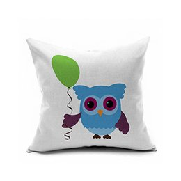 Wholesale Pink Animated - Animated cartoon animals pillow Owl printed pillowcase lasting health linen cushion for leaning on of red pink gold yellow pink blue orange