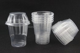 Wholesale Milkshake Cups - Wholesale- 100 pcs for 250ml disposable sundae cup band cover transparent plastic tumblerful ice cream milkshake cup