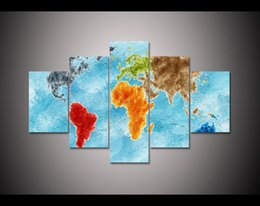 Wholesale Texture Abstract Panel Paintings - Colorful World Map LARGE 60x32 Inches 5Panels Art Canvas Print Texture Map Poster Wall Home Decor interior (No Frame)