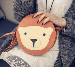 Wholesale Teddy Bear Handbags - Wholesale-The new female bag 2016 small round cute teddy bear little single shoulder bag ladies handbags mini inclined shoulder bag