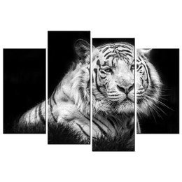 Wholesale Canvas Panel Artwork - King of the Jungle White Tiger HD Picture Canvas Prints Wild Animal Giclee Prints Canvas Artwork 4 Panels