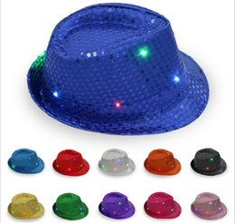 Wholesale Led Light Up Hats - 30pcs LED Jazz Hats Flashing Light Up Led Fedora Trilby Sequins Caps Fancy Dress Dance Party Hats Hip Hop Lamp Luminous Hat G095