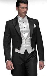 Wholesale Men S Long Suit Tailcoat - Custom Tailcoat Black Double-breasted Groom Tuxedos Peak Lapel Best man Groomsman Men Wedding Suits Bridegroom (Jacket+Pants+Vest) J163